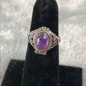 Silver & Amethyst Poison Ring